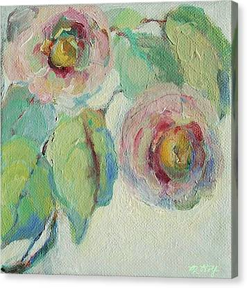 Canvas Print featuring the painting Impressionist Roses  by Mary Wolf