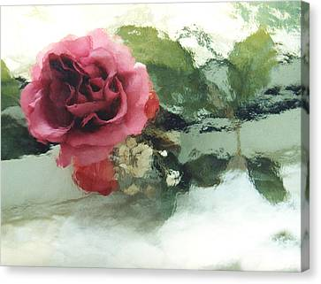 Impressionistic Watercolor Roses, Romantic Watercolor Pink Rose  Canvas Print