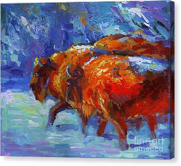 Impressionistic Buffalo Painting Canvas Print by Svetlana Novikova