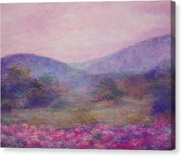Canvas Print featuring the painting Impressionistic Foggy Summer Morning  by Judith Cheng