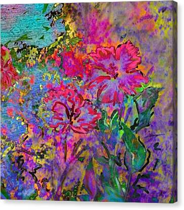 Impressionistic Magenta Hibiscus - Square Canvas Print by Lyn Voytershark