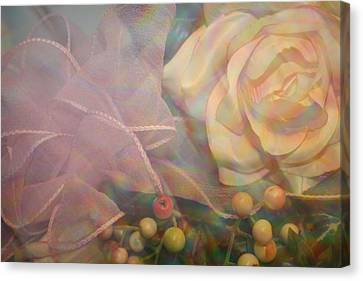 Canvas Print featuring the photograph Impressionistic Pink Rose With Ribbon by Dora Sofia Caputo Photographic Art and Design