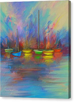 Impressions Of A Newport Beach Sunset Canvas Print by Angela A Stanton