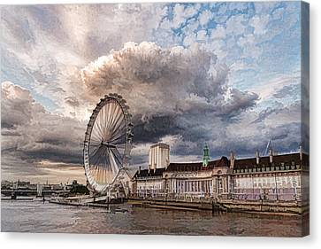 Impressions Of London - London Eye Dramatic Skies Canvas Print by Georgia Mizuleva