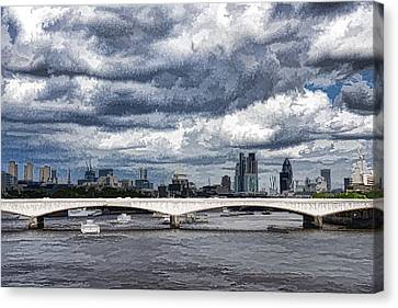 Impressions Of London - Stormy Skies Skyline Canvas Print by Georgia Mizuleva