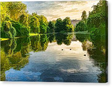 Impressions Of Summer - St James's Park Lake Reflections Canvas Print