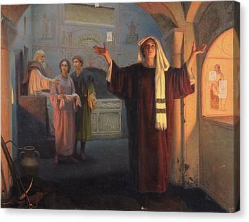 In A Catacomb, 1900 Oil On Canvas Canvas Print by Nikolai Nikolayevich Alexandrov