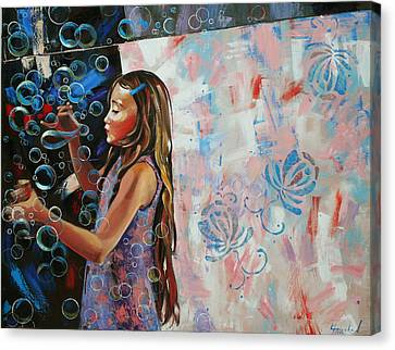 Canvas Print featuring the painting In A Country Blue Dragonflies  by Anastasija Kraineva