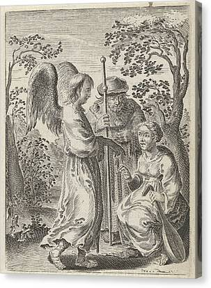 In A Landscape Is A Pilgrim With Pilgrims Staff Canvas Print by Pieter Nolpe