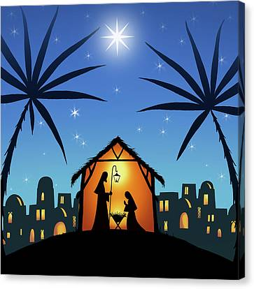 Nativity Canvas Print - In A Manger by P.s. Art Studios