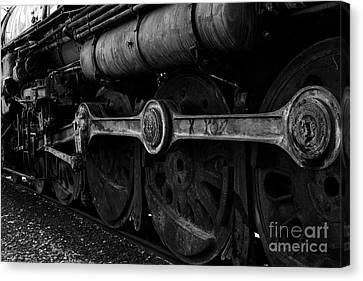 Old Sacramento Canvas Print - In A Time When Steam Was King 5d25491 V2 Black And White by Wingsdomain Art and Photography