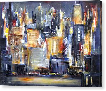 Chicago River Canvas Print - In Chicago Tonight by Kathleen Patrick