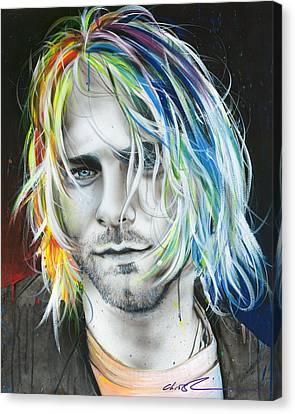 Kurt Cobain - ' In Debt For My Thirst ' Canvas Print by Christian Chapman Art