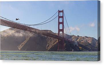 In Flight Over Golden Gate Canvas Print by Scott Campbell