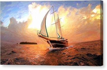 In Full Sail - Oil Painting Edition Canvas Print