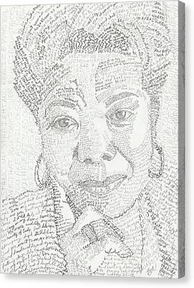 In Her Own Words Maya Angelou Canvas Print by Beverly Marshall