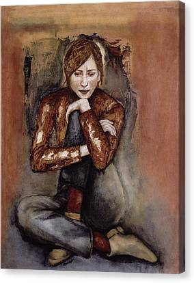 In Her World, 2005 Pen & Ink With Oil On Paper Canvas Print by Stevie Taylor