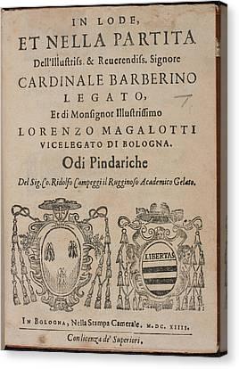 In Lode Et Nella Partita Dell'illustriss Canvas Print