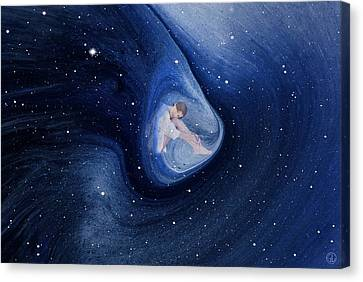 In My Safe Dreambubble Through Space Canvas Print by Gun Legler