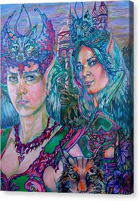Canvas Print featuring the painting In Silvermoon City by Suzanne Silvir