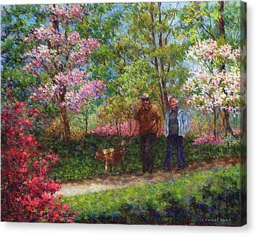 Azaleas Canvas Print - In The Azalea Garden by Susan Savad