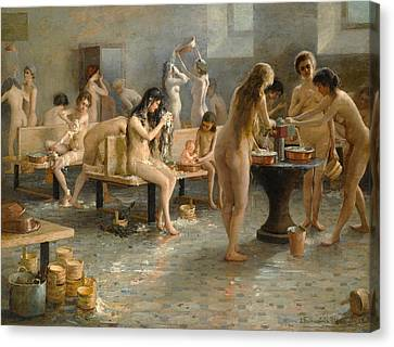 In The Bath House Canvas Print by Vladimir Alexandrovich Plotnikov