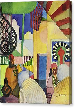 Moroccan Canvas Print - In The Bazaar, 1914 by August Macke