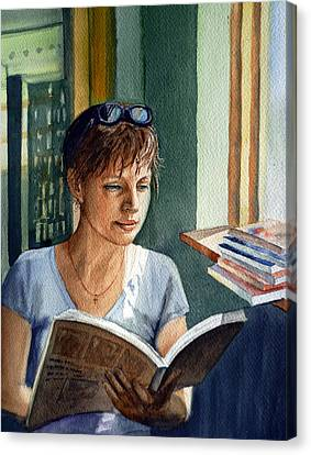 Realistic Canvas Print - In The Book Store by Irina Sztukowski