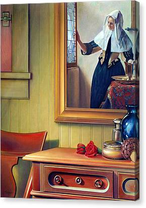 In The Boudoir With Vermeer Canvas Print by Patrick Anthony Pierson