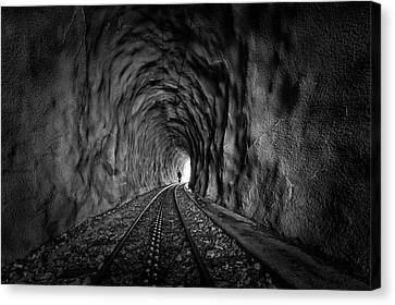 In The Bowels Of The Mountain-bw Canvas Print