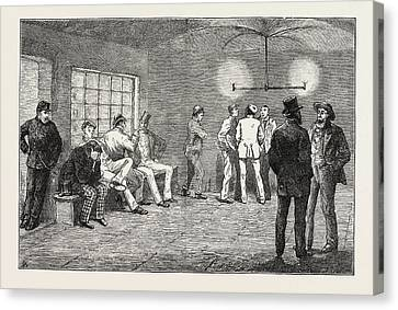 In The Cellars At Newgate Prisoners Waiting For The Court Canvas Print by English School