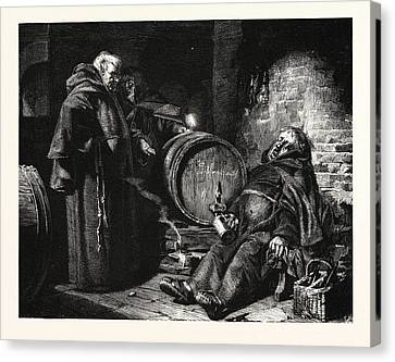 In The Cloister Cellar Canvas Print by Gr?tzner, Eduard Theodor Ritter Von (1846-1925), German