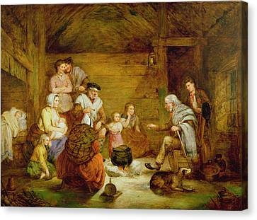 In The Crofters Home, 1868 Canvas Print by Alexander Leggett
