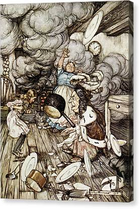 Cheshire Cat Canvas Print - In The Duchesss Kitchen, Illustration To Alices Adventures In Wonderland By Lewis Carroll 1832-98 by Arthur Rackham