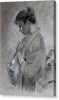 Canvas Print featuring the drawing In The Family Way by Viola El