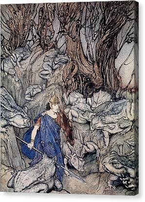 In The Forked Glen Into Which He Slipped At Night-fall He Was Surrounded By Giant Toads Canvas Print by Arthur Rackham