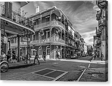 In The French Quarter Monochrome Canvas Print by Steve Harrington