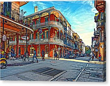 In The French Quarter Painted Canvas Print by Steve Harrington