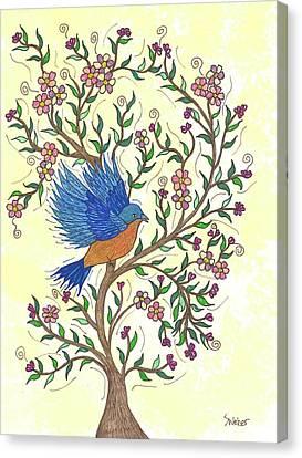 In The Garden - Bluebird Canvas Print by Susie WEBER