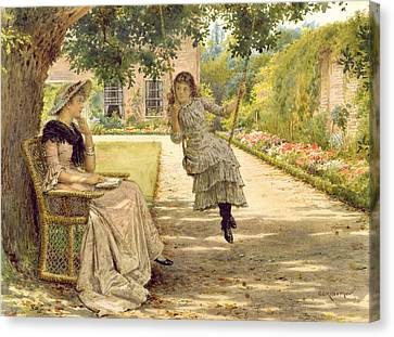 In The Garden Canvas Print by George Goodwin Kilburne