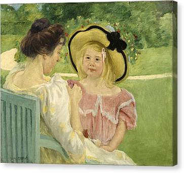 In The Garden Canvas Print by Mary Cassatt