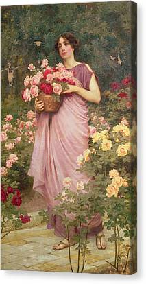 In The Garden Of Roses Canvas Print by Richard Willes Maddox
