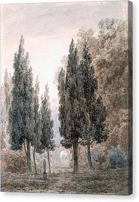 Villa Canvas Print - In The Gardens Of The Villa Pamfili by John Robert Cozens