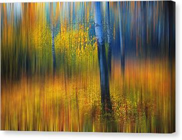 In The Golden Woods. Impressionism Canvas Print by Jenny Rainbow