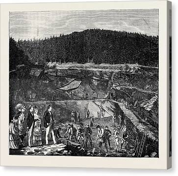 In The Harz Mountains Slate Working Canvas Print