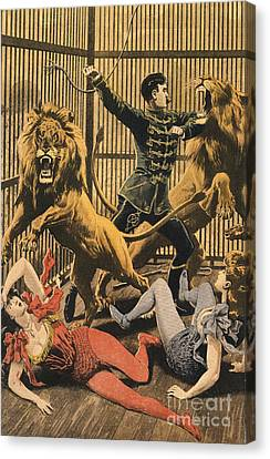In The Lion�s Cage 1910s Uk Lion Tamers Canvas Print by The Advertising Archives