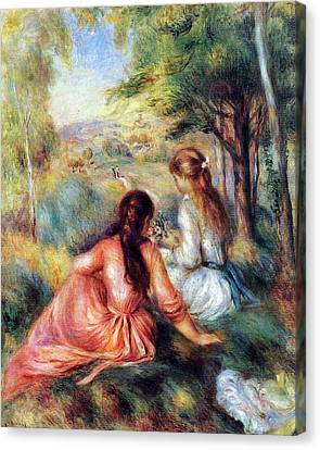 Canvas Print featuring the painting In The Meadow by Pierre-Auguste Renoir