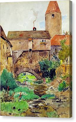 Red Roof Canvas Print - In The Moat by Eduard Zetsche
