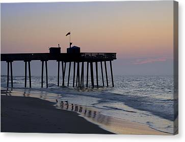 In The Morning On The Beach Ocean City Canvas Print by Bill Cannon