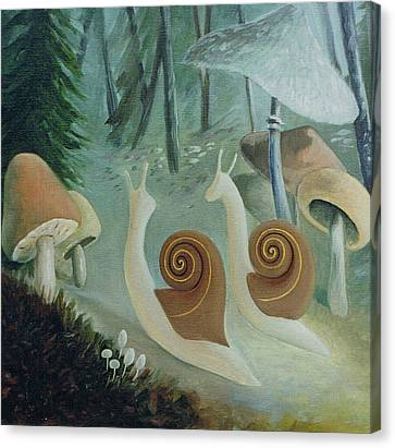 In The Mushroom Forest Canvas Print